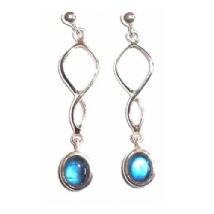 Twist Rainbow Moonstone Earrings Silver